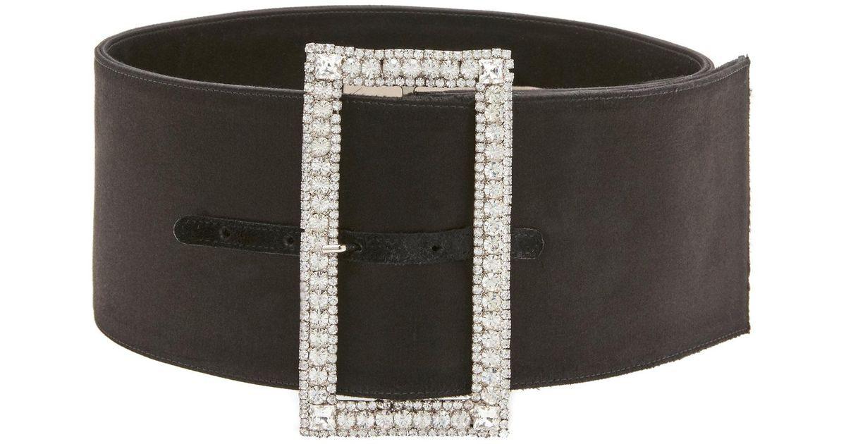 678a2a4309dec Alexandre Vauthier Wide Embellished Satin Belt in Black - Lyst