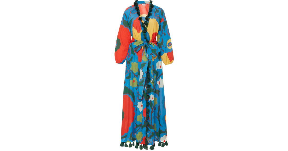 e3e30f0c9c Lyst - Rhode Resort Lena Floral-print Cotton-voile Maxi Dress in Blue