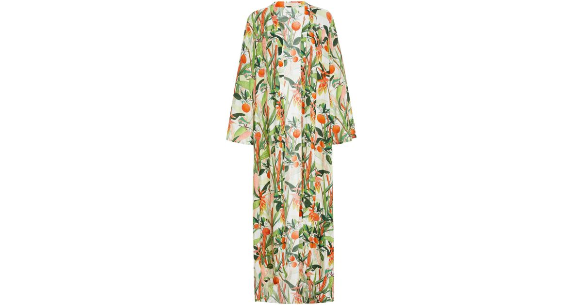 d675ad5aaa2f3 Lyst - VERANDAH Beaded Botanical-print Long Kimono in Green