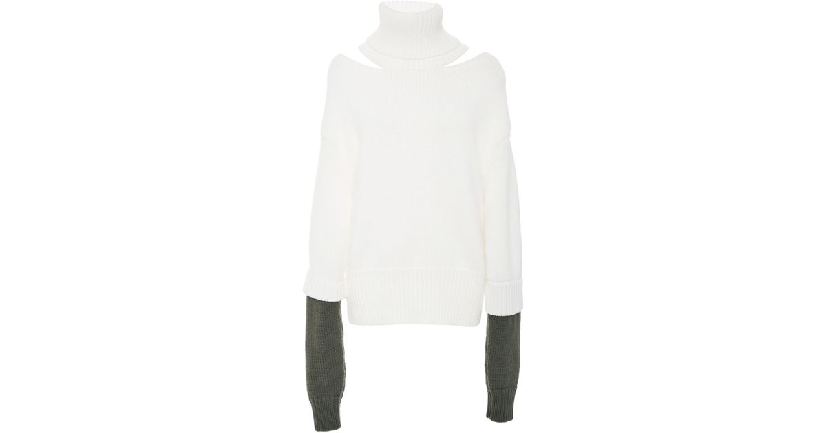Tone In White Double Turtleneck Monse Two Cutout Cuff Lyst Wool XTBq6a