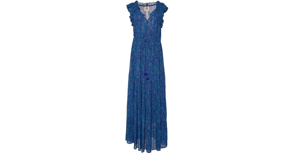 3d4a4bcd20b Lyst - Figue Gianna Ruffle-detailed Batik-print Maxi Dress in Blue