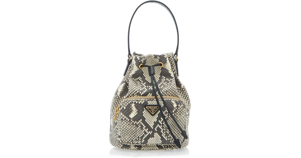 f02e9f75a2 Prada Multicolor Python Print Leather Bucket Bag