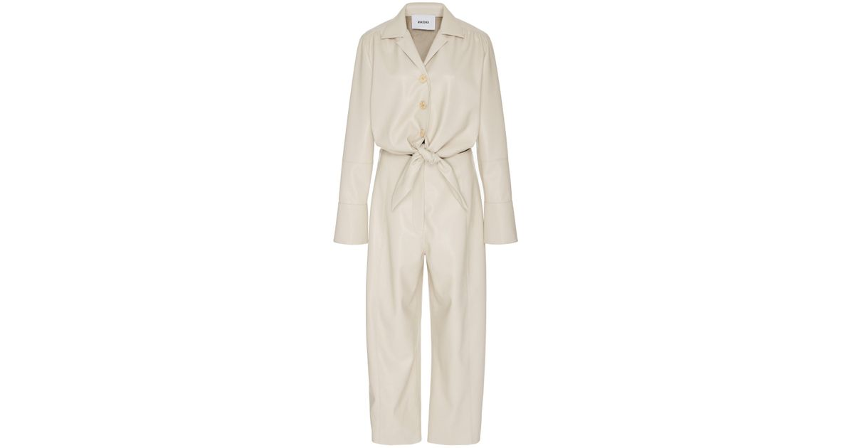 c21f5c5c245e Lyst - Nanushka Ana Tie Front Vegan Leather Jumpsuit in White