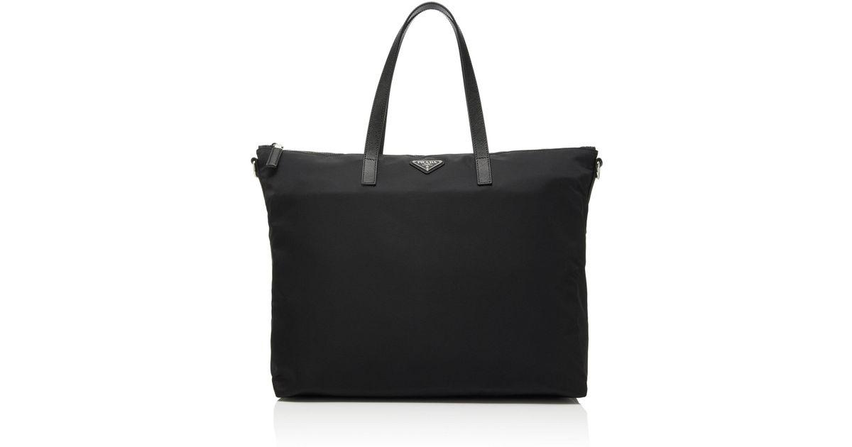 0baff80e11fb0c Prada Leather-trimmed Nylon Tote Bag in Black for Men - Lyst