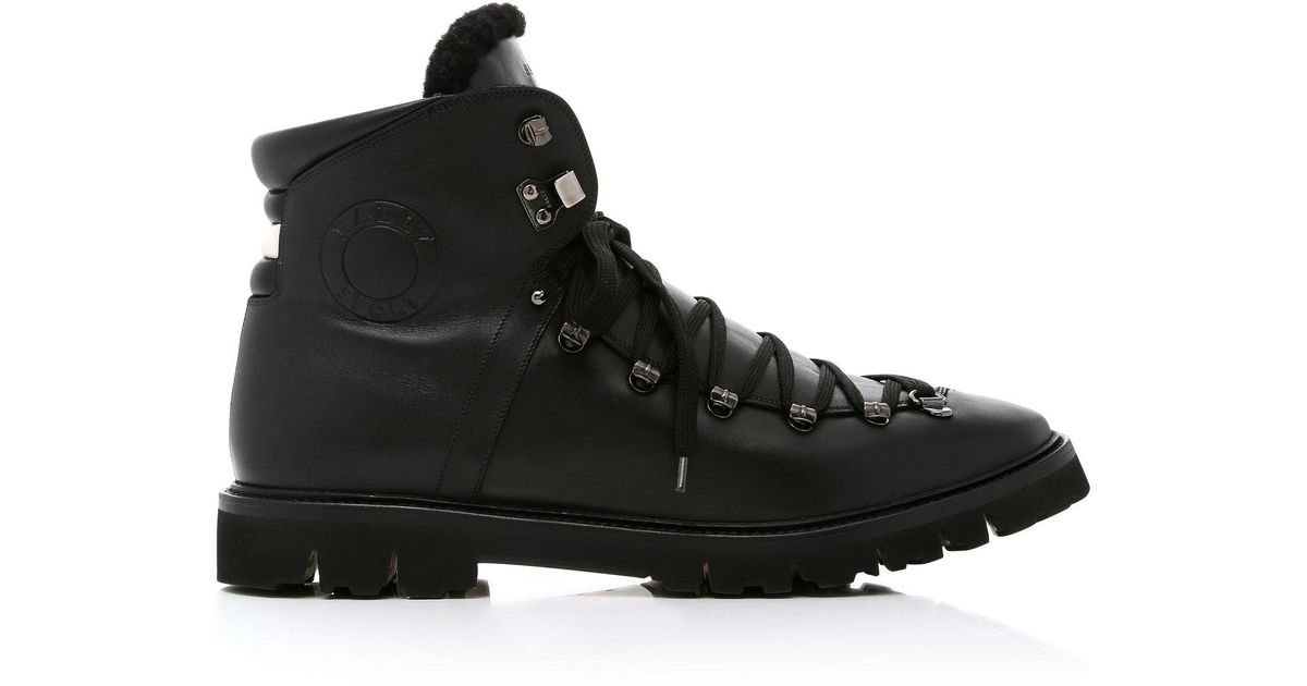09e95c9d227 Bally Black Chack Fur-trimmed Hiking Boots for men