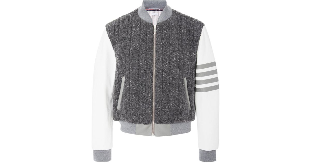 Blend Wool In For Thom Bomber Knit Lyst Jacket Browne Cable Men Gray wttqFIC
