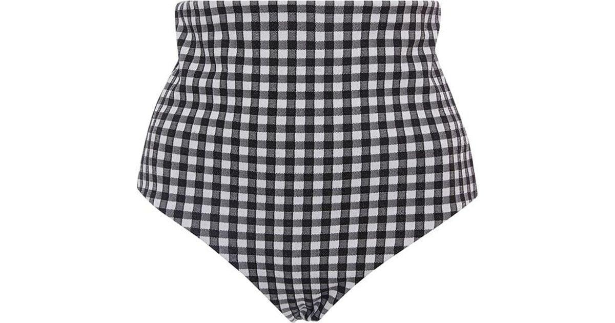 6de70bdaed Lyst - Mara Hoffman Plaid Lydia High Waisted Bikini Bottom