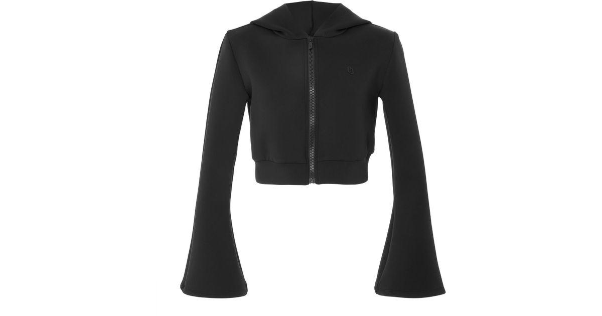 86ca7e27046 Cushnie et Ochs Toni Neoprene Hooded Zip Up Cropped Jacket With Bell Sleeves  in Black - Lyst