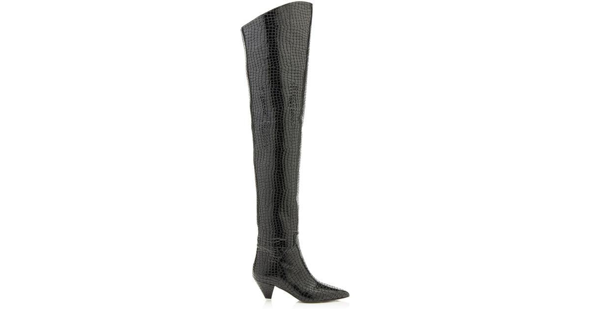 ba89c5ff7ad Attico Patent Faux Crocodile Over-the-knee Boots in Black - Lyst
