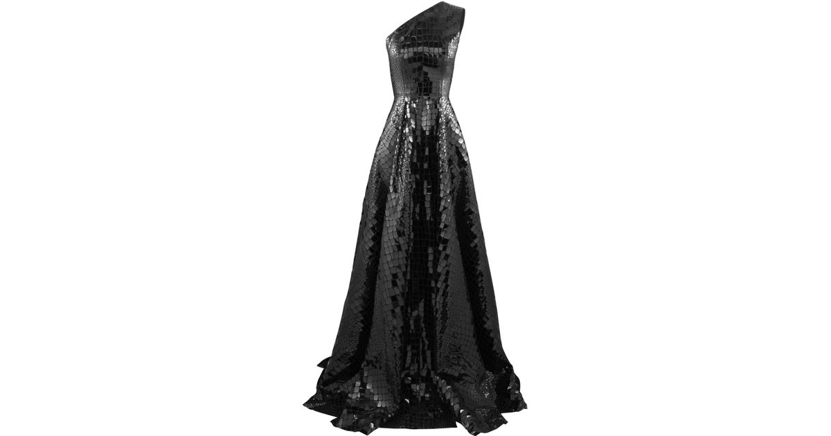 c0eb2cce200 Lyst - Alex Perry Jasper Sequined Croc-effect One-shoulder Gown in Black