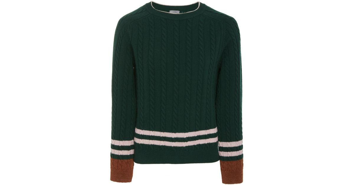 eb52c3a08e Lanvin Striped Wool And Cashmere-blend Cable-knit Sweater in Green for Men  - Lyst