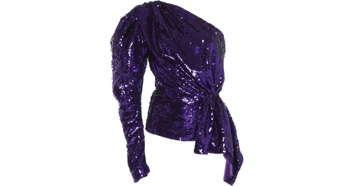 eae8a68112209 Lyst - 16Arlington One-shoulder Puff Sleeve Sequin Top in Purple