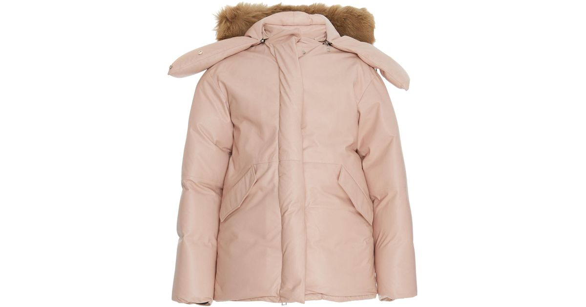 7e28e2f65d1 Loewe Pink Fox Hood Leather Parka