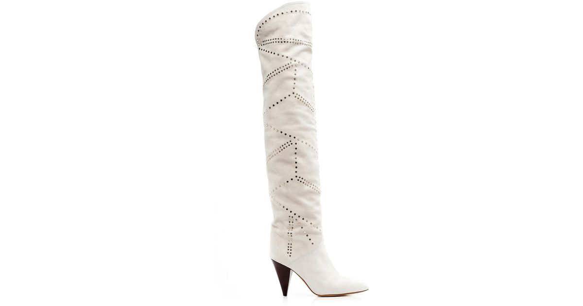 3069c83ae7d Isabel Marant White Ladra Leather Over-the-knee Boots