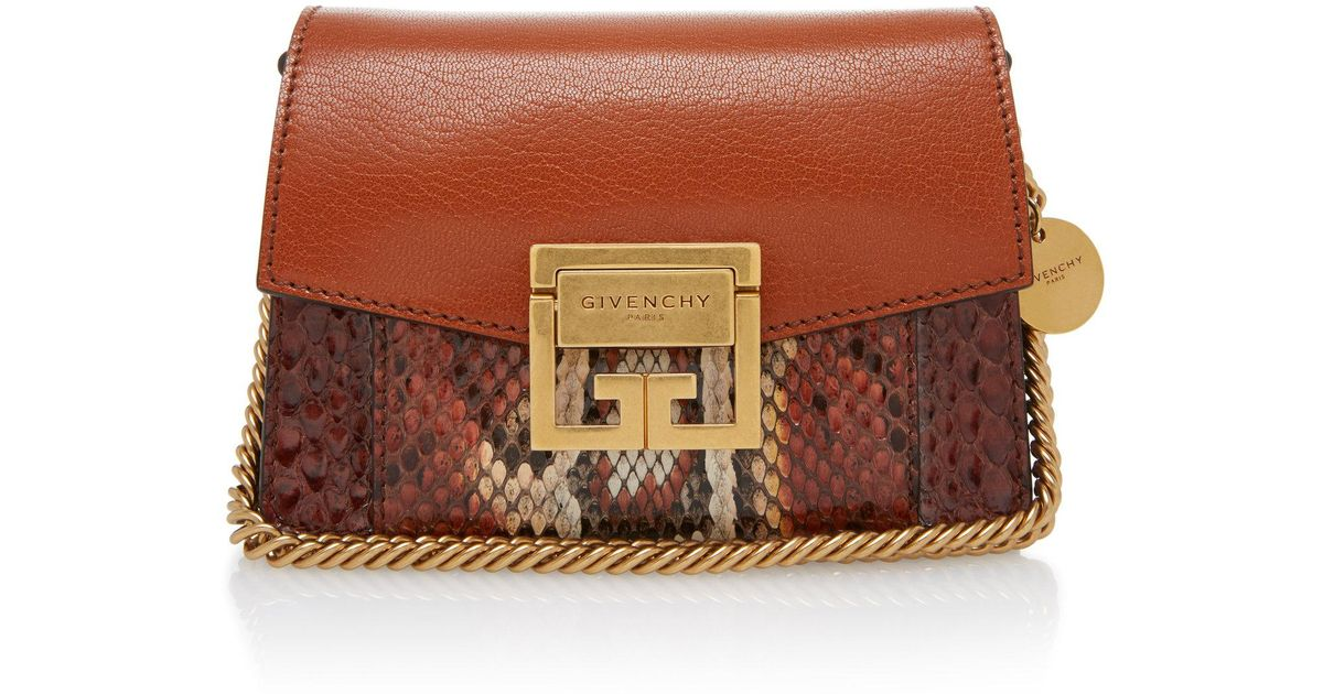 ced89737a7bf Lyst - Givenchy Gv3 Mini Snake-effect Leather Shoulder Bag in Brown