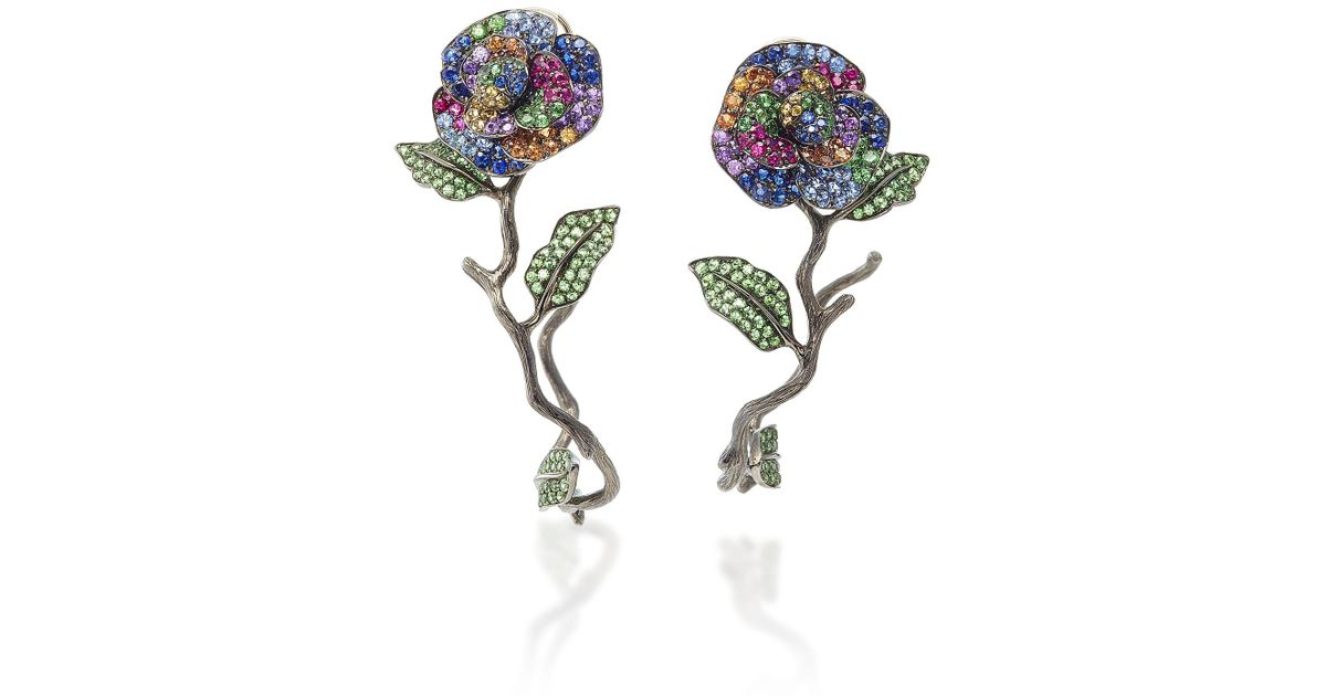 01e6599deed6f5 Lydia Courteille One-of-a-kind Flowers Earrings - Lyst