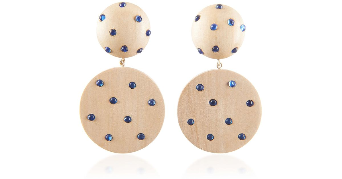 821b14d9be33c Rebecca de Ravenel White Marina Wood & Glass Ball & Disc Earrings