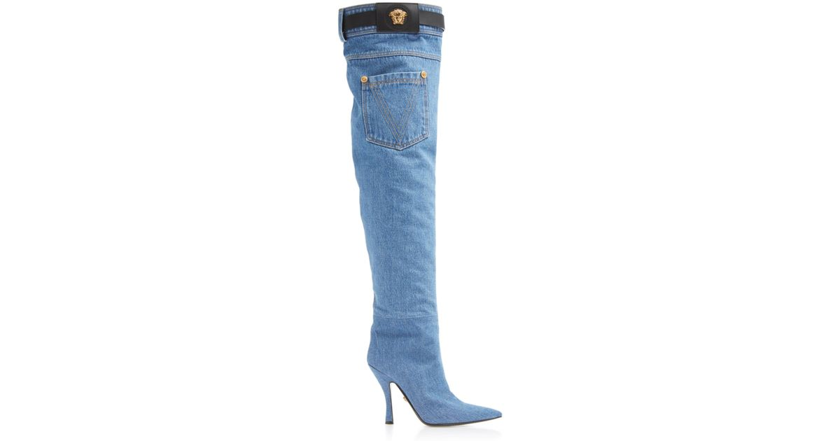 0052d73e1fcf Versace Stella Buckle Boot in Blue - Lyst