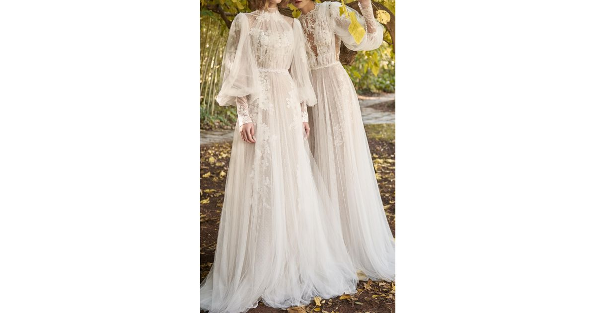 Costarellos bridal guipure lace applique ethereal gown in white lyst