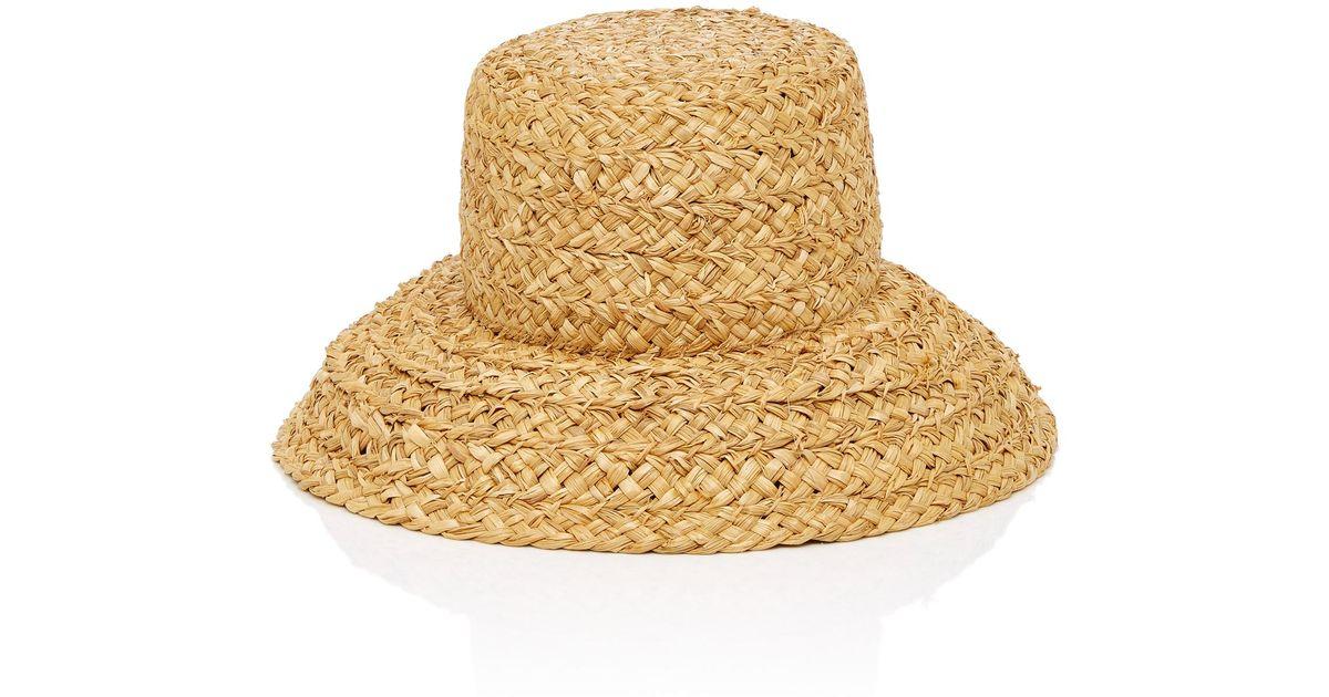 Lyst - Janessa Leone Sydney Woven Straw Bucket Hat in Natural 6b091b7f383