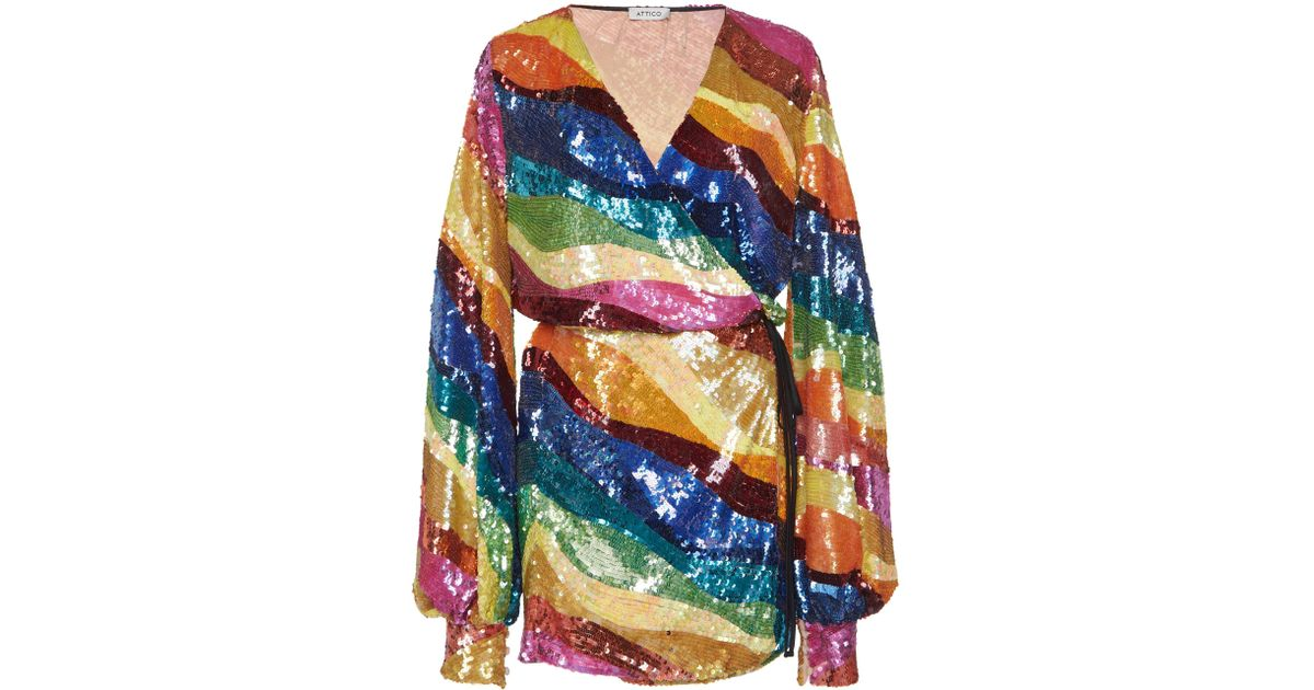 Attico Rainbow Sequin Dress Lyst