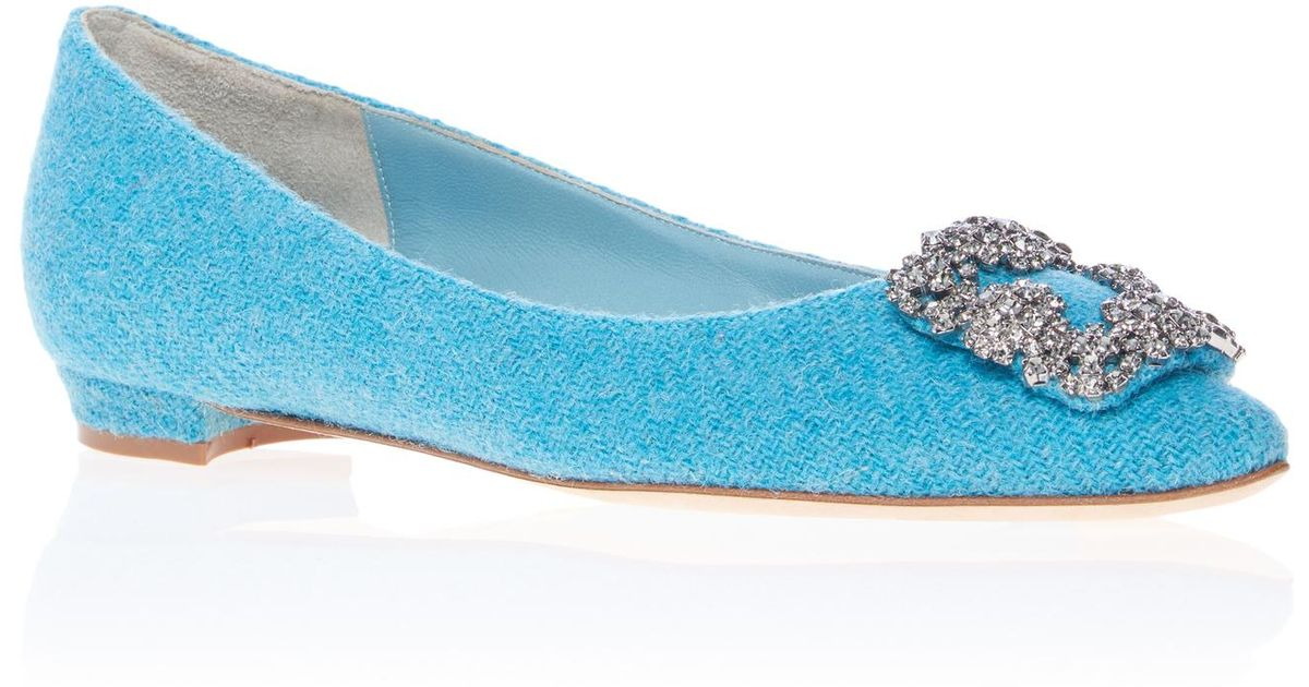 0759f11234051 Manolo Blahnik Hangisi Tweed Flat in Blue - Lyst