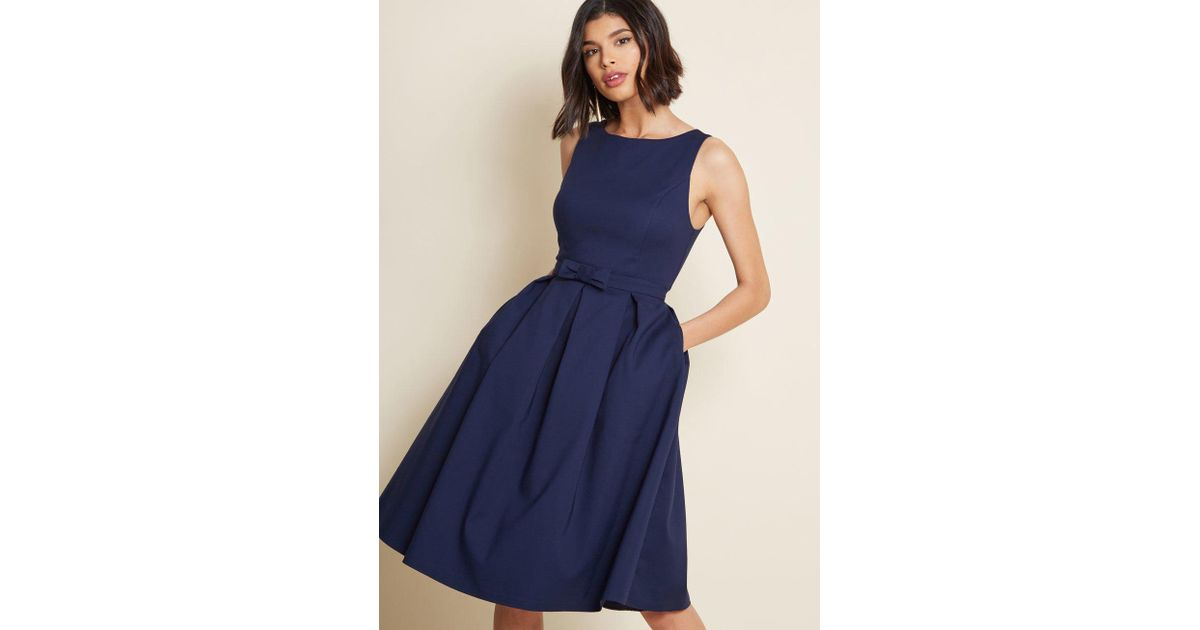 7bca9e991c2 ModCloth Polish Aplenty Fit And Flare Dress in Blue - Lyst