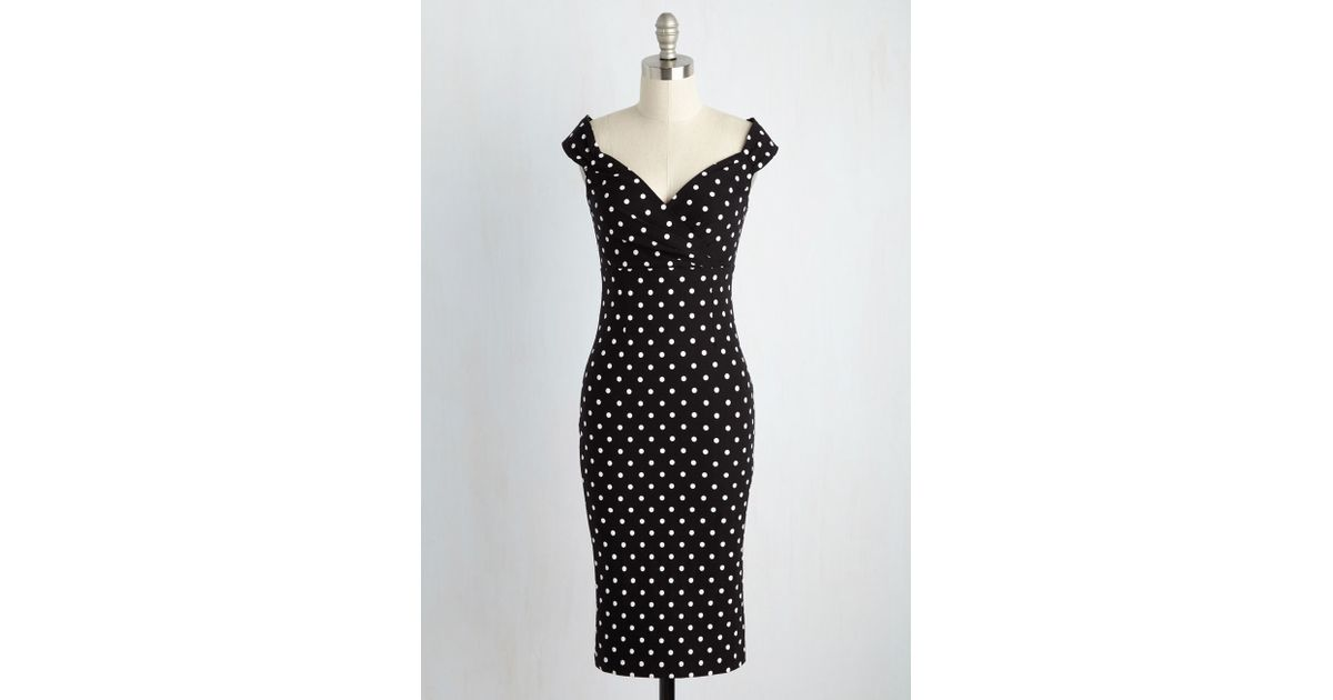 ff8d966647c6 Lyst - Rock Steady/Steady Clothing In Lady Love Song Sheath Dress In Black  Dots in Black