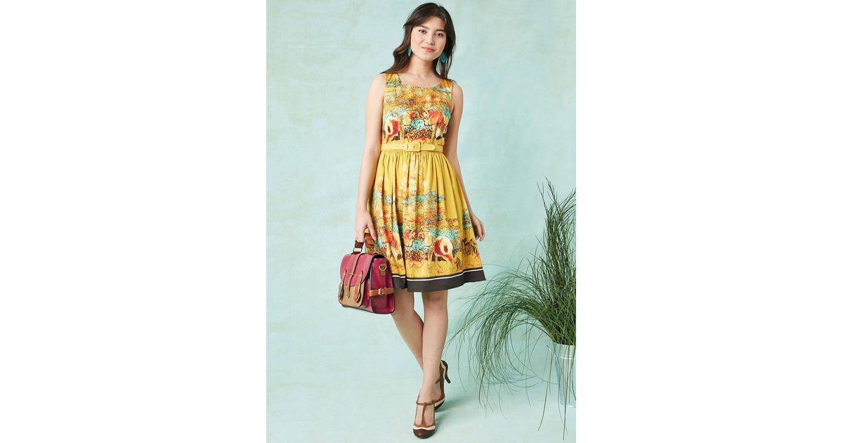 a9b4c09a81b9a ModCloth Festive Frondescence A-line Dress In Safari in Yellow - Lyst