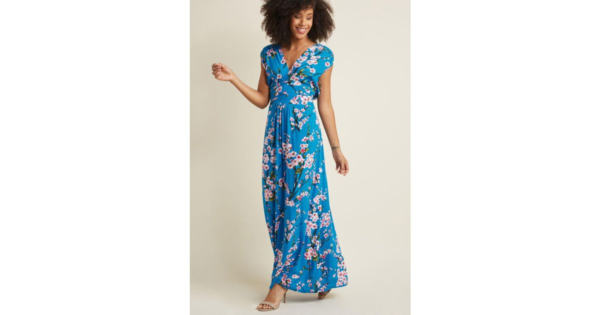 b21d670f4a Lyst - ModCloth Feeling Serene Maxi Dress In Cherry Blossoms in Blue