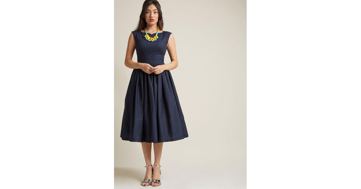 345633b4288e ModCloth Fabulous Fit And Flare Dress With Pockets In Navy in Blue - Lyst