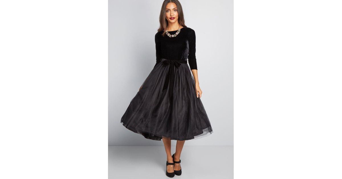 Lyst Collectif X Mc Go Vogue Fit And Flare Midi Dress In Black