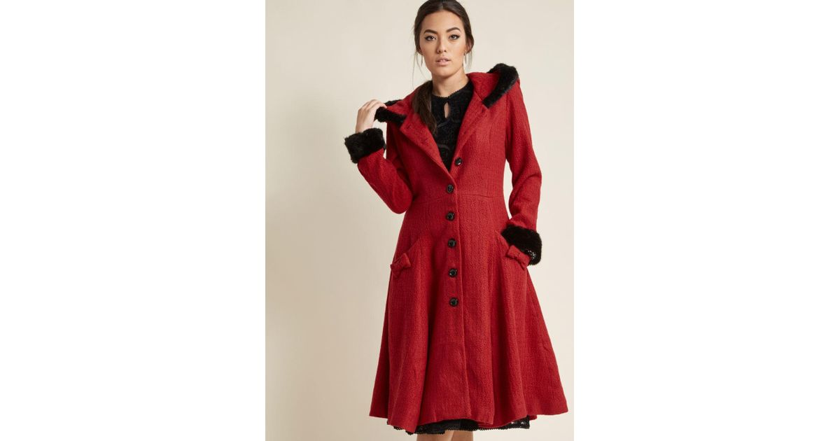6e507fb39fc Lyst - Collectif Winsome Warmth Fit And Flare Coat in Red