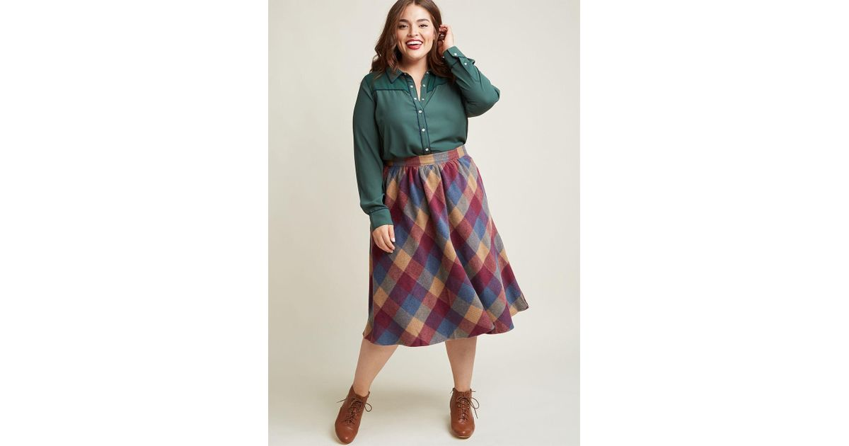 f7f2b51fe4 ModCloth Sunday Sojourn Midi Skirt In Warm Plaid - Lyst