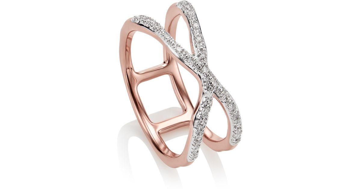 Sterling Silver Riva Wave Cross Ring Diamond Monica Vinader XrrkJBnvN