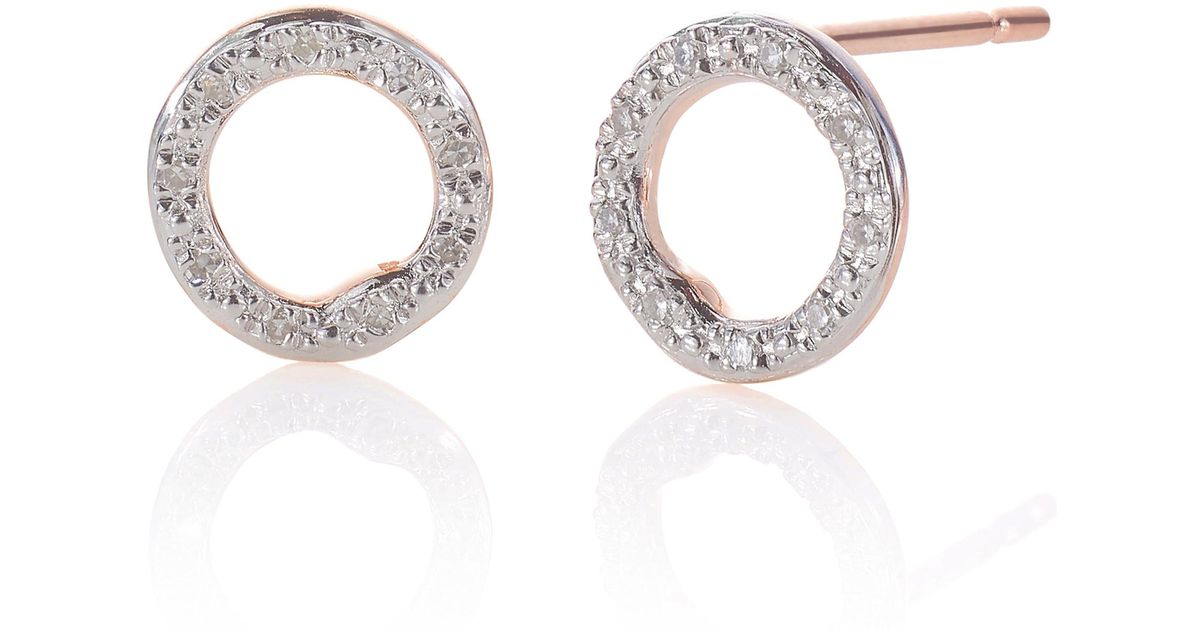 Rose Gold Riva Diamond Circle Stud Earrings Diamond Monica Vinader DfCLbd