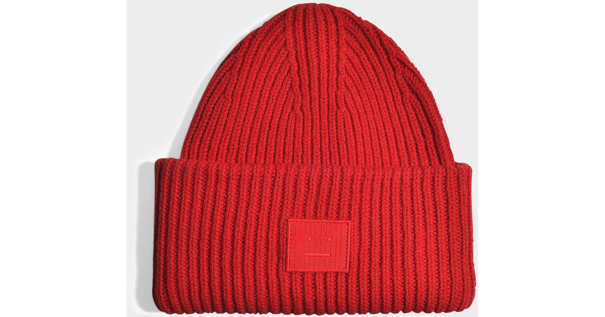 84da949db40 Lyst - Acne Studios Pansy N Face beanie aus rubinroter Wolle in Rot