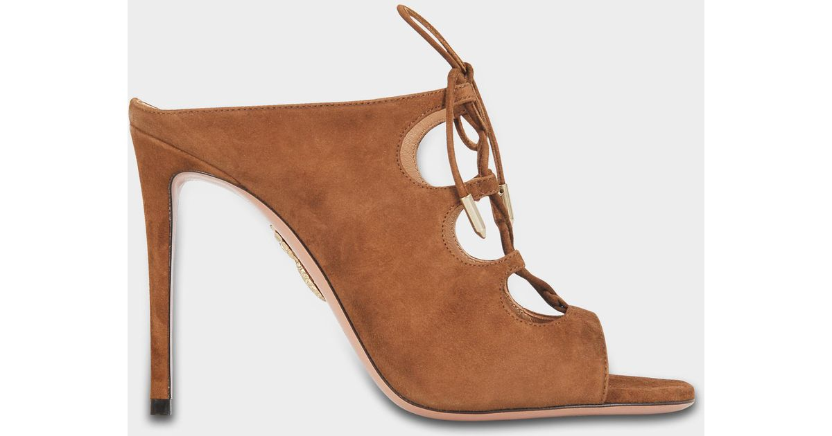 100e4d09f820 Aquazzura flirt mules shoes in hazelnut suede in brown lyst jpeg 1200x630 Hazelnut  suede