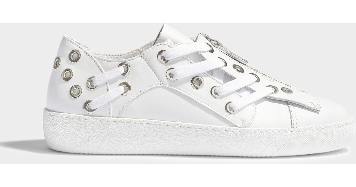 Zip Front Sneakers With Rivet and Lace Detail in White Leather N Qh0FLci