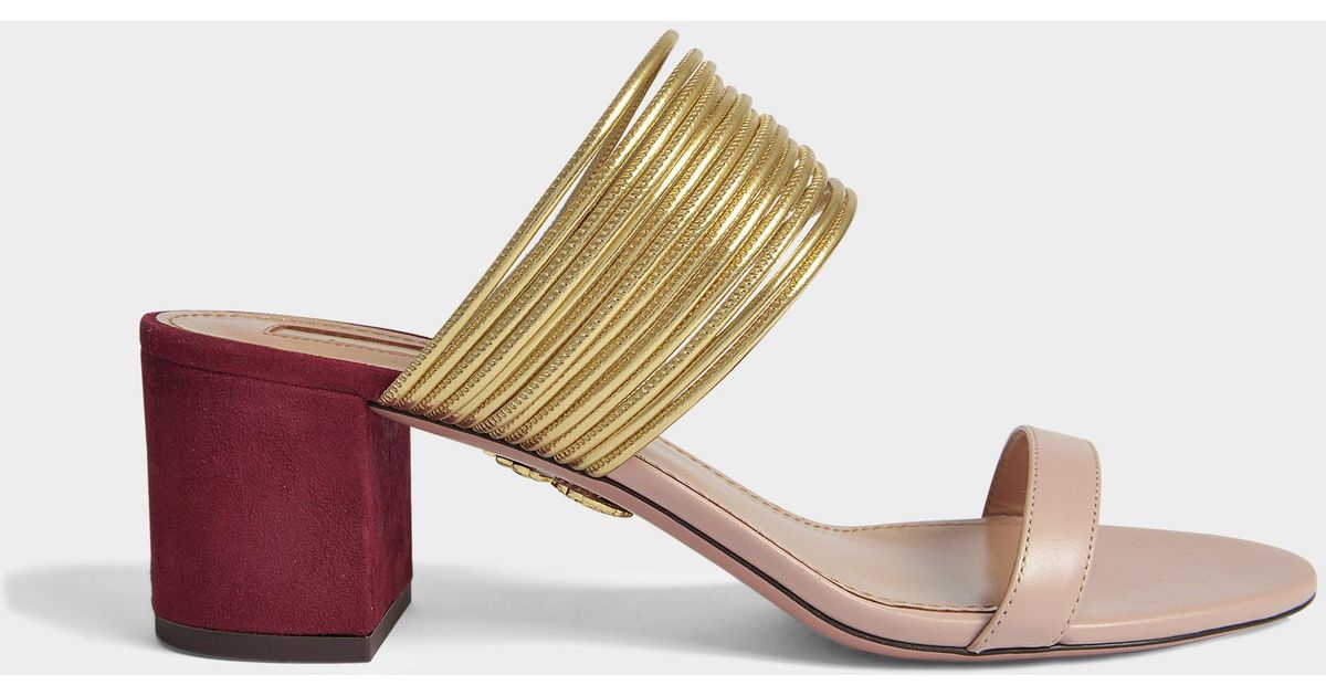 Rendez-Vous 50 Sandals in Powder Pink, Gold and Dark Chilli Suede, Specchio and Calf Aquazzura