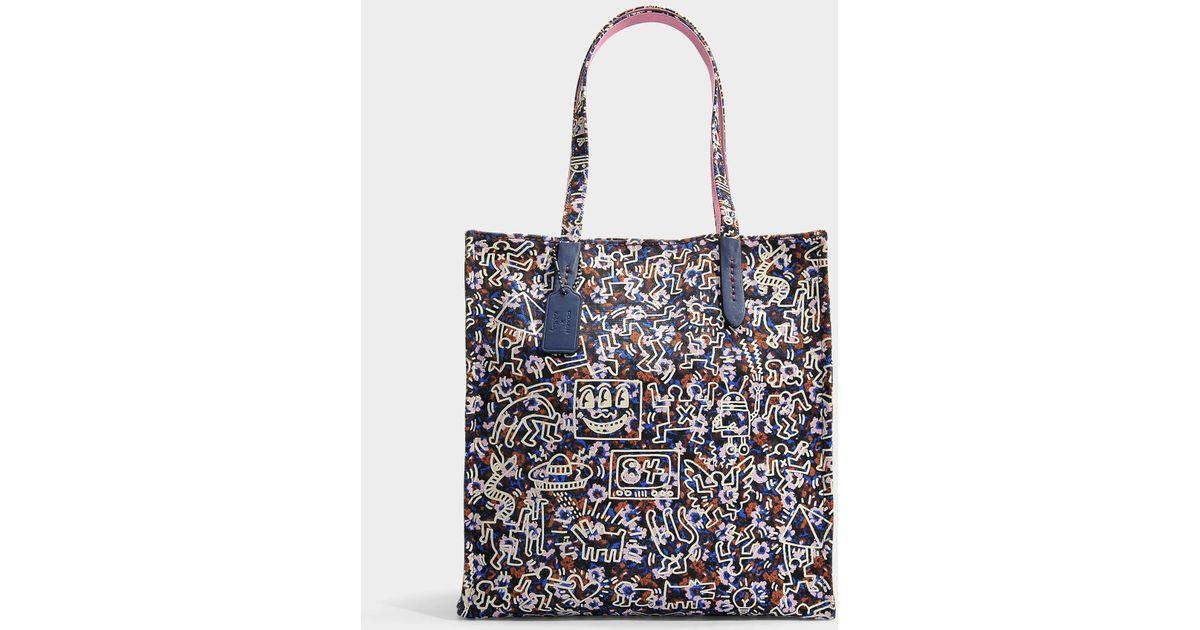 Keith Haring Blue Bleue Cabas Toile Coloris Sac En Coach j54Lc3RAq