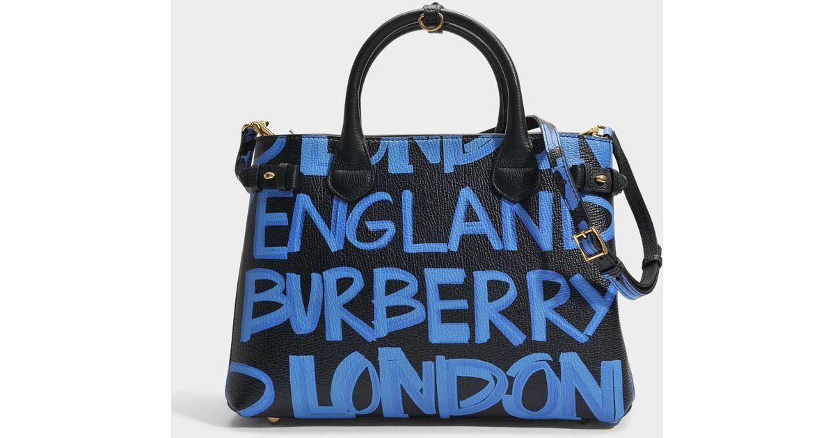 6c7995561f Lyst - Burberry Banner Medium Graffiti Leather Tote in Black