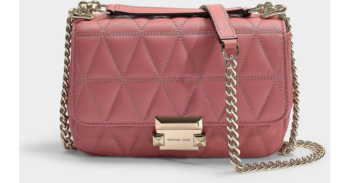 c85279e8330 MICHAEL Michael Kors Sloan Small Chain Shoulder Bag In Rose Quilted  Lambskin in Pink - Lyst