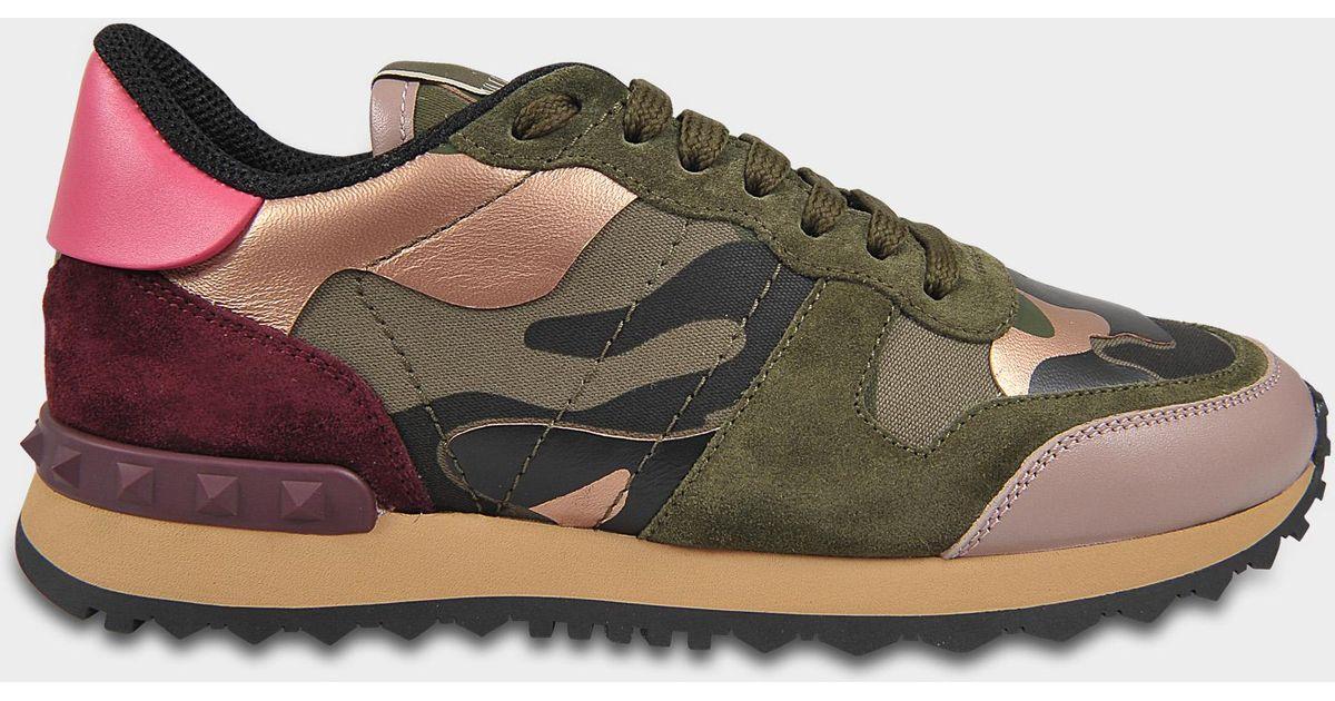 Aus Valentino Khaki Sneaker Wildleder Camouflage Hellrosanem Multicolor Und KF1JlTc