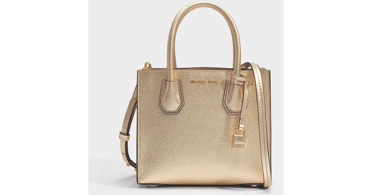MICHAEL Michael Kors Metallic Mercer Medium Messenger Bag In Pale Gold  Mercer Pebble Leather