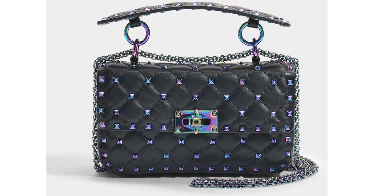 Rockstud Spike Small Shoulder Bag in Black Irridescent Leather Valentino eJFiI