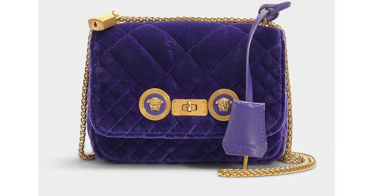 Versace Small Icon Shoulder Bag In Purple Velvet in Purple - Lyst a7e3c9609702a
