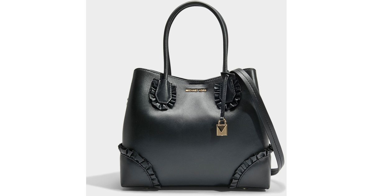 Mercer Gallery Center Zip Medium Tote Bag with Ruffles in Black Polished Leather Michael Michael Kors E8j64uSVf
