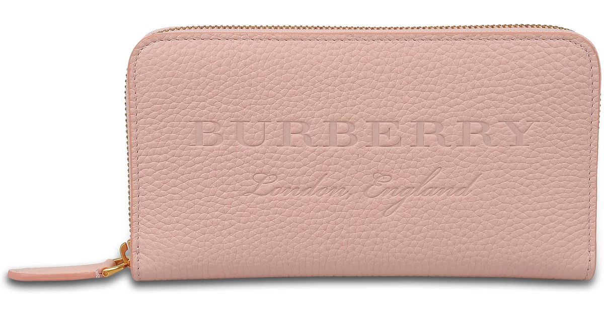 Zip Around Wallet in Pale Ash Rose Grained Calfskin Burberry