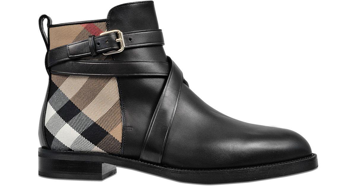 Burberry Women's Vaughan Vintage Check & Leather Block Heel Booties NHOjEcd